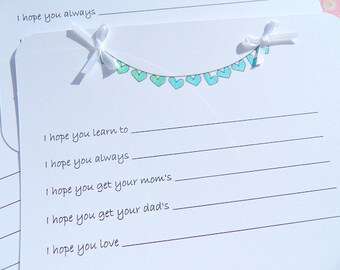 Baby Wish Cards - Baby Shower Wish Cards - Cards for Baby Shower -  Baby Shower Games - Bunting Wish Cards - Baby Shower Keepsakes - BSHWC