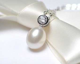 Solitaire Pearl Necklace | White Freshwater Drop Pearl w CZ Pendant | Sterling Silver Necklace | Bridal Jewelry | Ready to Ship | On Sale