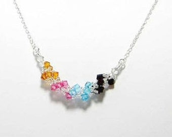 Swarovski Crystal Mother's Birthstone Necklace, Sterling Silver by Whimsy Beading