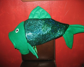 Flounder inspired fish costume one size fits all for Fish head costume