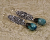 Handmade precious metal clay PMC earrings with turquoise raku bronzy droplets