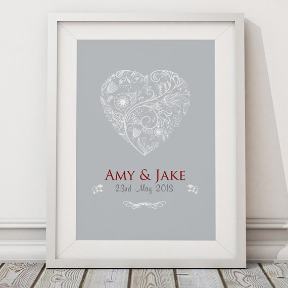 Personalised Wedding Gift Art : Personalised Wedding heart gift word typography art print wall decor