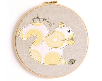 "Pesky Squirrel - Personalised Embroidered Hoop Art - Textile Artwork in yellow and pink - Medium 8"" hoop"