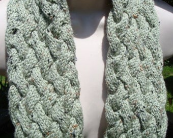 Cable Knit Scarf, Hand Knit Scarf, Light Green Hand Knitted Scarf, by Cherylsknits