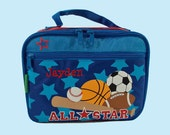 Stephen Joseph Child's ALL-STAR SPORTS Themed Lunch Box Personalized For Free