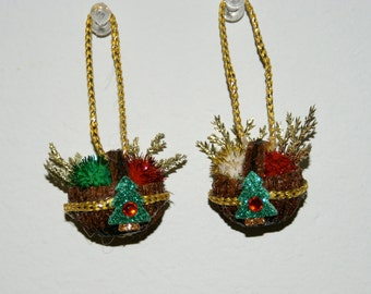 CLEARANCE SALE - Two Handcarved Walnut Basket Christmas Ornaments