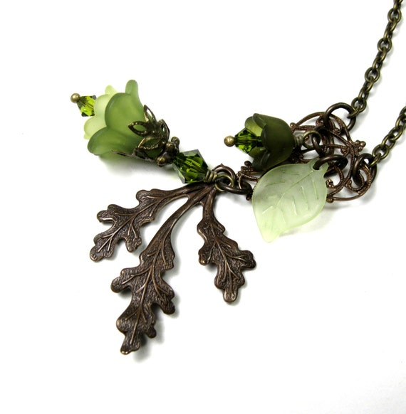 Vintage Style Pendant Necklace, Vintaj Brass, Green, Olivine, Gifts for Gardeners, Woodland, Swarovski Crystal, Floral Statement Necklace