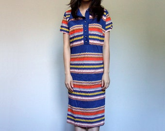 70s Blue Dress Colorful Casual Short Sleeve Simple Summer Dress Zig Zag Back to School Collared Dress - Extra Large XL