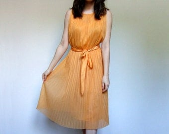 70s Orange Pleated Dress Sheer See Through Summer Dress 1970s Sun Dress - Small S