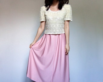 70s Pale Pink Midi Skirt Pastel Simple Skirt Casual Long Summer Skirt Koret - Extra Small XS S