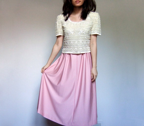 70s pale pink midi skirt pastel simple skirt casual