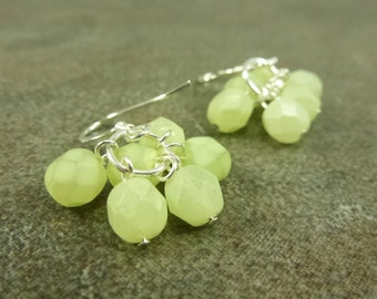 Olive Cluster Earrings Czech Firepolished Pale Lime Green