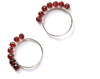 Be Mine garnet wire wrapped sterling silver 25mm endless hoops- wine red birthstone circle earrings- simple- valentine- minimalist