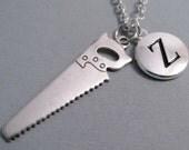 Hand Saw Necklace, Saw Charm, Hand Saw Keychain, Silver Plated Charm, Initial, Personalized, Monogram