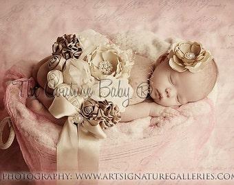 Ranunculus Headband to match Vintage Ivory Maternity Sash