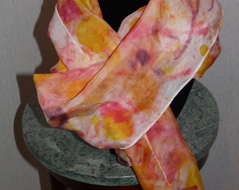 Coral Beauty - Beautiful Hand Dyed Silk Scarf - Great Gift Idea - FREE SHIPPING