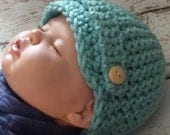 Newsboy Hat - Newborn Size - Aqua, Light Green, Blue, Grey Tweed or Choose From Many Other Colors - Crochet Infant Hat - Photography Prop