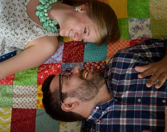 Patchwork Quilt, Engagement Photography Prop--Classic Americana--lap size--54X81--personalized for a wedding