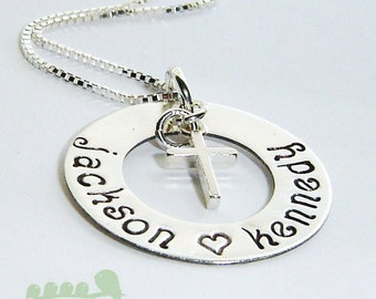 Personalized necklace - Handstamped charm jewerly - Mother necklace -7/8 inch Washer cross charms