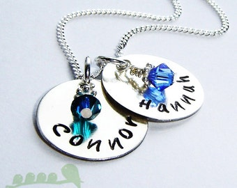 Mother necklace - Personalized handstamped charm name - 2 medium discs
