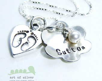 Mother jewelry - Hand stamped necklace - Personalized charm necklace - baby foot with flower name charms