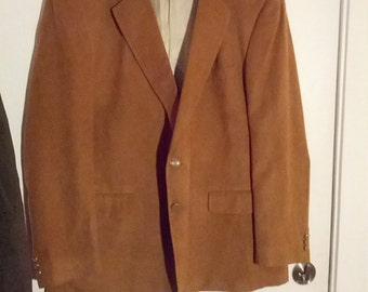 men ultrasuede jacket blazer 70s disco suitcoat suit brown camel faux suede polyester 48 50