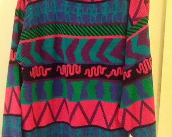 women boho neon sweater dayglo jumper grunge 80s L aztec southwest Design zigzag pink aqua purple lime green