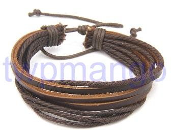 Leather Bracelet Surfer Tribal Leather Bracelet...Brown... Wristband... Adjustable... N174-2