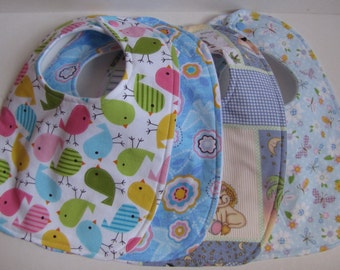 Baby Girl Bibs-Set of Four in Pinks and Blues-Baby Shower, Baby Gift-Ready To Ship