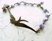 Bird bracelet, purple pearl bracelet, beaded bracelet