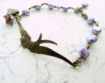 Bird bracelet, purple pearl bracelet, beaded bracelet