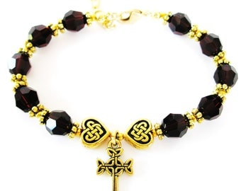 GARNET Single Decade JANUARY Birth Month SWARVOSKI Crystal Garnet Rosary Bracelet-Irish Bracelet