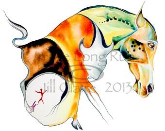 Horse Buffalo Woman Native Art Painting Print Jill Claire Original