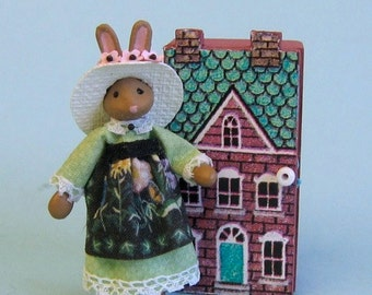 "Miniature dressed bunny rabbit lady for 1/4"" or doll for 1"" scale plus free dollhouse kit"