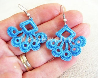 Blue Crochet Earrings, Dangle Earrings, Bridal Earrings, Jewelry Crochet Earrings, Geometric Earrings