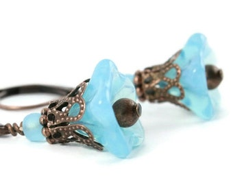 Aqua Blue Opal Trumpet Flower  and antique copper leverback earrings READY to ship (136) - Flat rate shipping