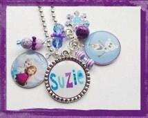 SNOWMAN NECKLACE -Personalized - Custom Name and Bezel Charms - Personalized Jewelry - Disney Frozen Jewelry