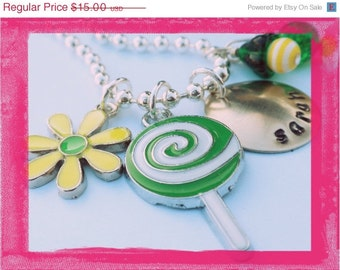 Hand Stamped Necklace for Personalized Girls Jewelry Daisy and Lollipop  - #SW81