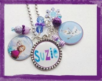 Triple Bezel Set -Frozen Inspired NECKLACE - Personalized Jewelry for Girls #B29