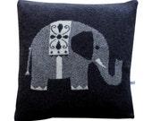 40cm Lambswool Grey Elephant Cushion