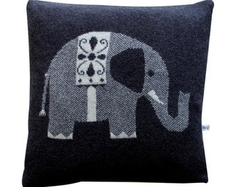 40cm Lambswool Grey Elephant Cushion