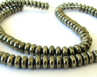 Golden Pyrite Smooth Rondelles - FULL 15.5 inch strand of beads 5.5 x 3mm (3esf1)