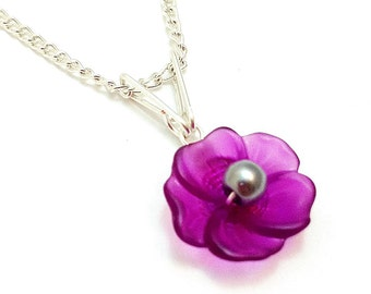 Purple Lucite Flower Wire Wrapped Pendant - Custom Pearl Center and Free Silver Curb Chain