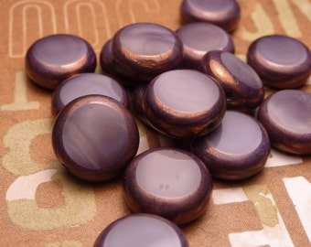 Purple Satin Glass Coin Beads 11mm - 6pc