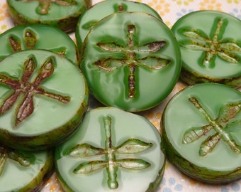 Green Satin Glass Dragonfly Bead 17mm - 2pc
