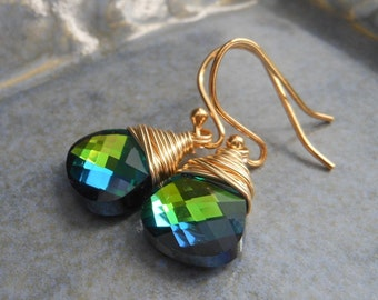 Blue and Green Crystal Earrings, Wire Wrapped Green, Blue and Yellow Swarovski Flat Briolette Crystals.  Meadow.