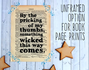 Typographic Art on Vintage Book Page - choose any unframed print