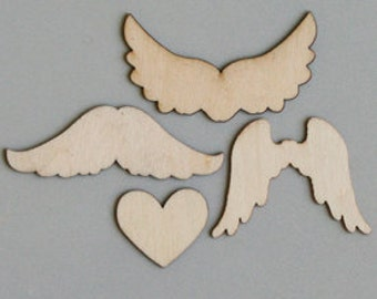 Wings to My Heart Wood Pieces by Maya Road