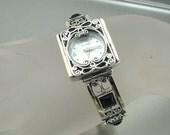 NEW Israel Original Handmade Fine 9k yellow gold 925 sterling Silver Filigree onyx Bracelet Watch (s b 3010bo)