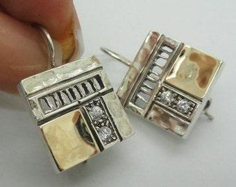 New Israel Smart Modern Art Square Gold Silver White Cz earrings (s-e1624)